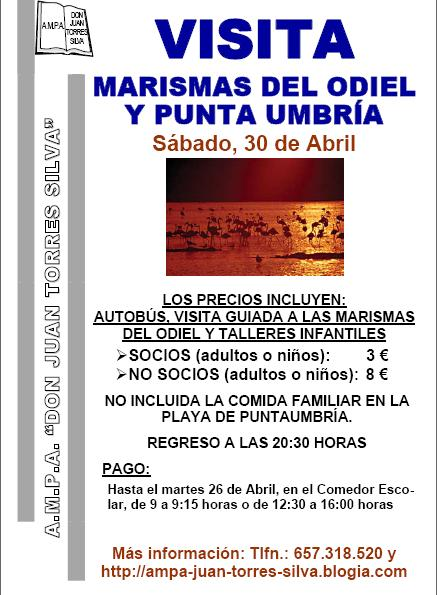 30 DE ABRIL: VISITA AL PARAJE NATURAL DE MARISMAS DEL ODIEL Y PLAYA PUNTA UMBRÍA